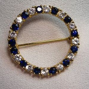 Pretty Lab Sapphire and CZ Gold Tone Scarf Pin